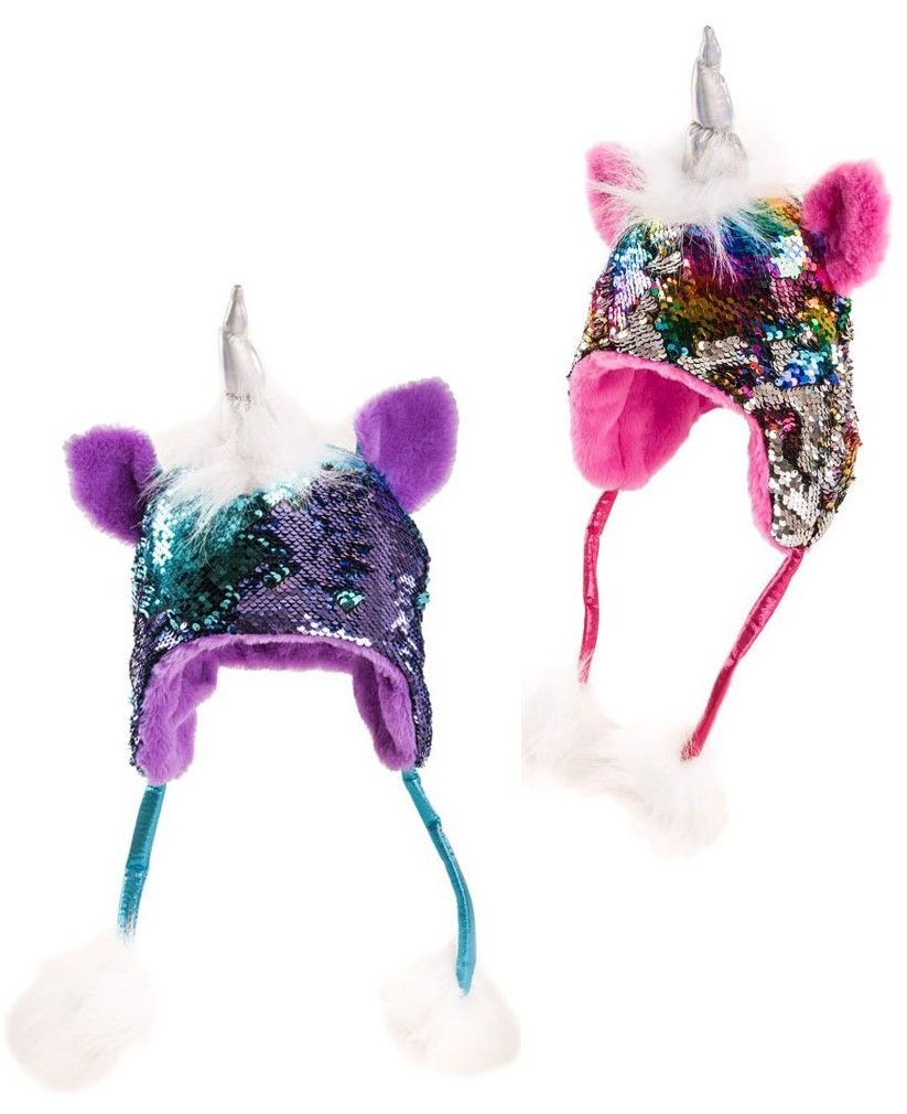 Funky sequined unicorn hat , sequins go two colours