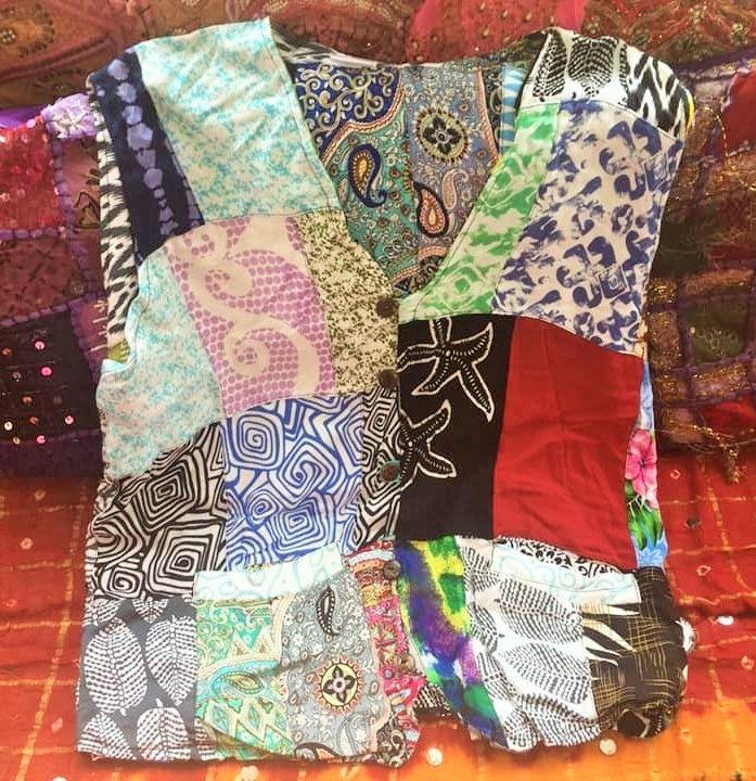 Funky folksy patchwork hippy waistcoat
