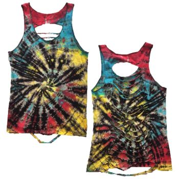 Tie dye punk / hippie razor cut top