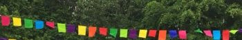 Four metres of funky rainbow bunting