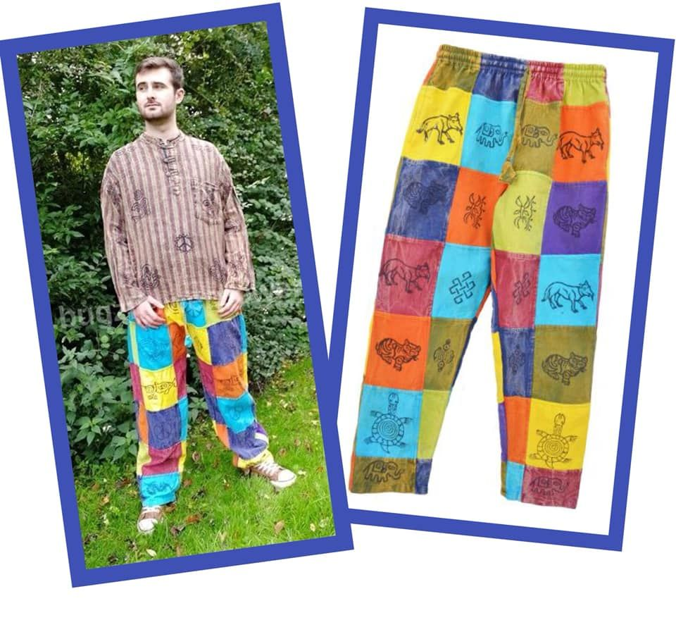 Bright patchwork trousers