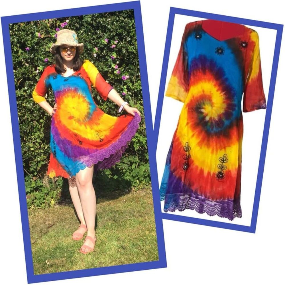 Stunning  tie dye mirrored Tessi dress / top