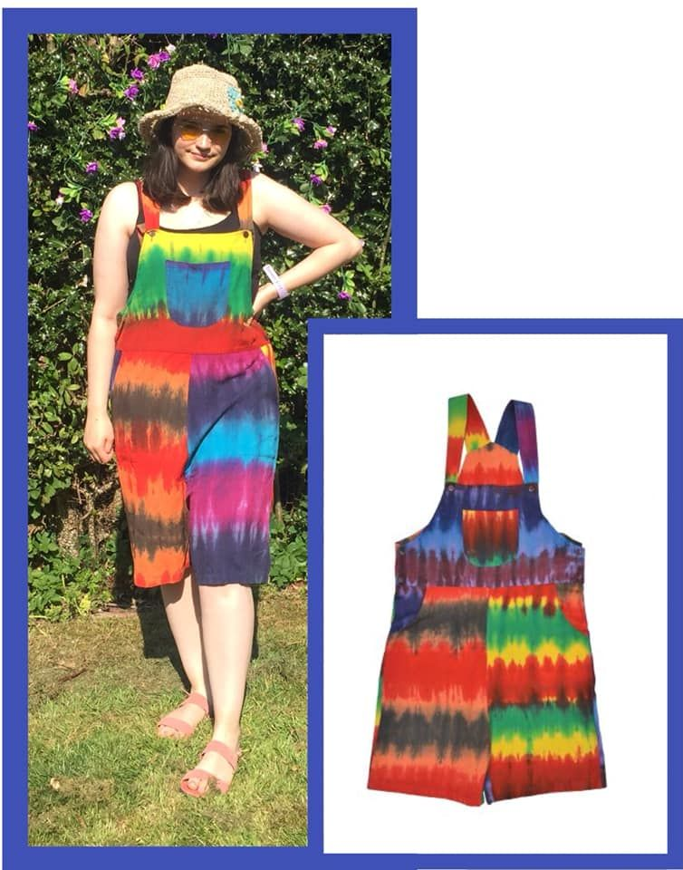 Wacky festival hippy tye dye rainbow dungaree shorts