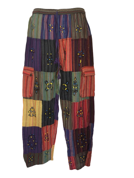 Unisex ethnic patchwork trousers