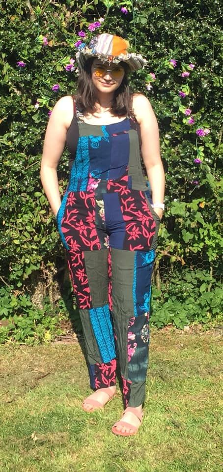 Funky patchwork dungarees