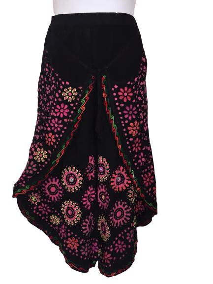 Faux Thai flower mirror batik pants