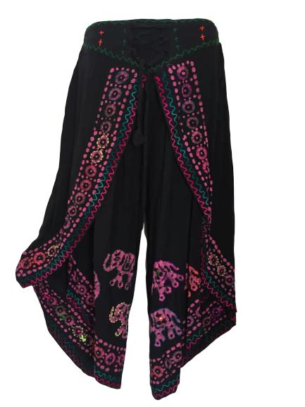 Faux elephant mirrored batik pants