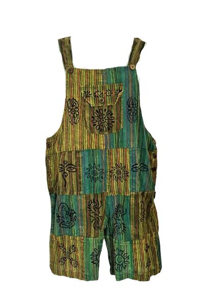 Pretty green boho  festival hippy patchwork dungaree shorts