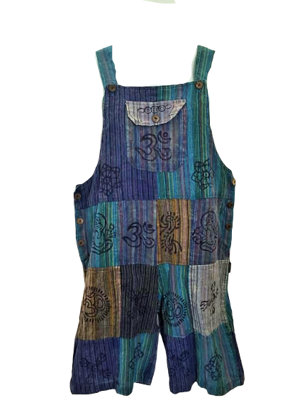 Pretty blue boho  festival hippy patchwork dungaree shorts