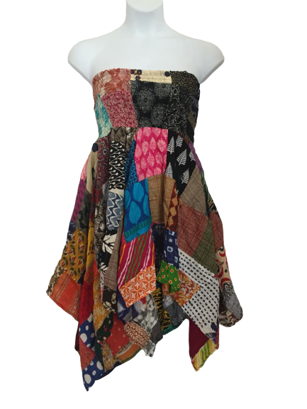 Patchwork  pixie hem dress
