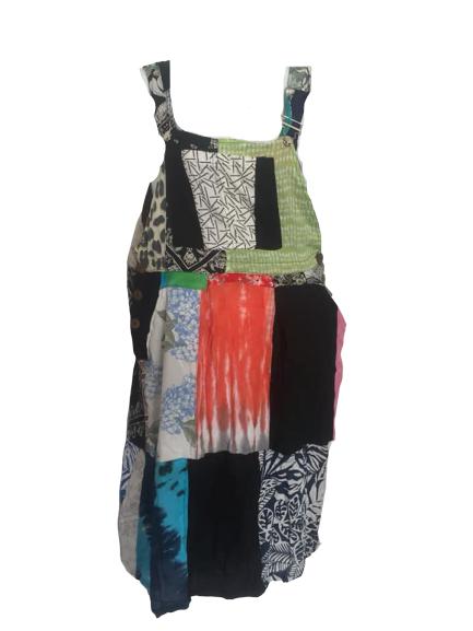 Hippy patchwork dungaree dress