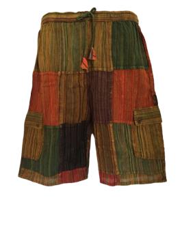 Stonewashed patchwork shorts