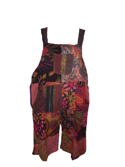 Pretty boho  festival hippy patchwork plus size dungaree shorts