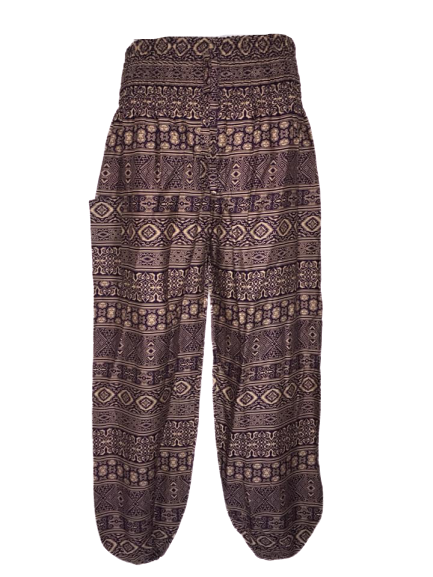 Hippy festival purple ethnic print  harem trousers