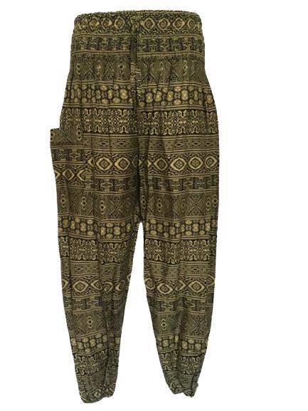 Hippy festival  ethnic print  harem trousers