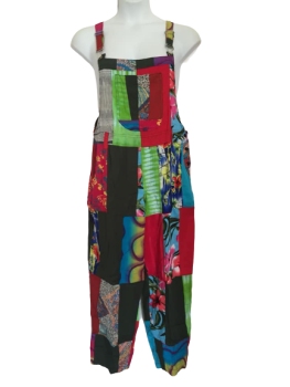 Funky colourful patchwork dungarees