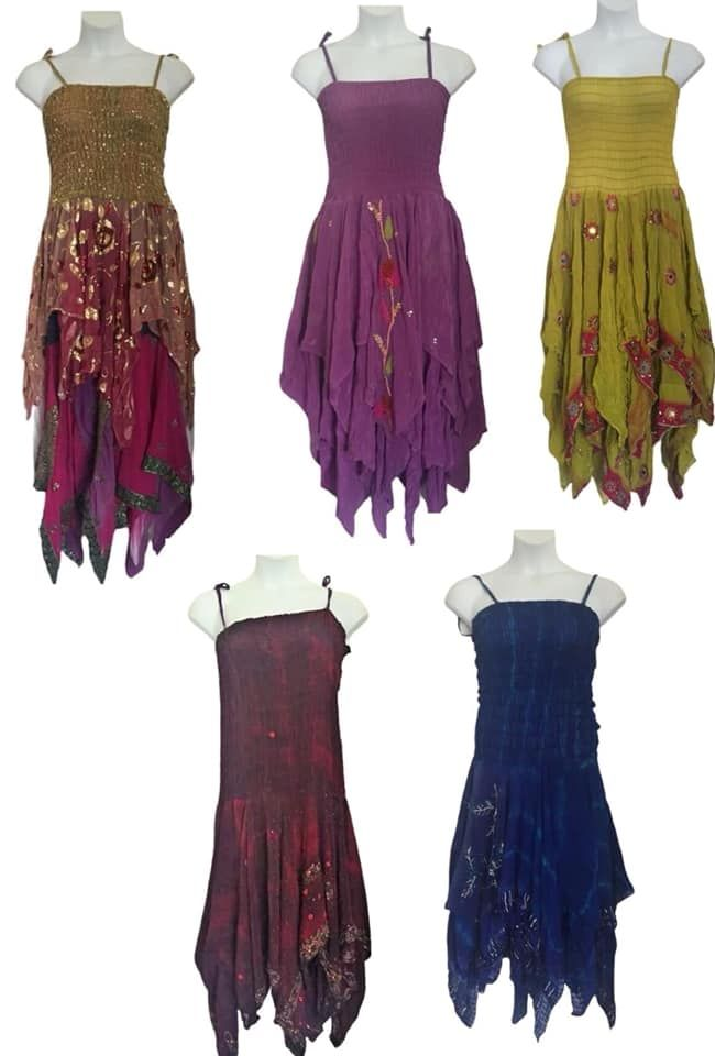 Five piece joblot of Damaged dresses for upcycle