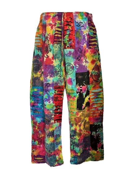 Tie dye razor cut patchwork hippy trousers