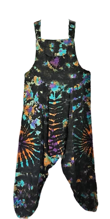 Hippy tie dye harem dungarees