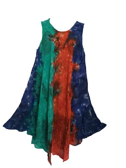 Printed tie dye swing dress (plus size )