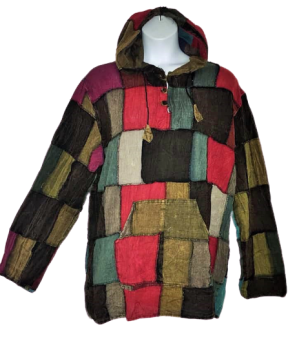 Overlock patchwork hooded shirt top [plus size]