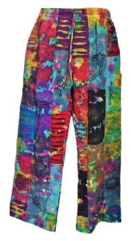 Tie dye razor cut patchwork hippy trousers