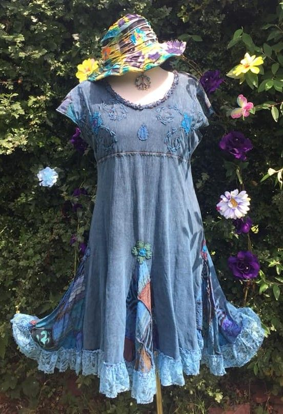 Lovery applique flower lacey hem dress xxl