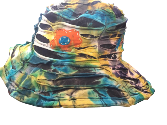 Tie dye flower applique floppy hat