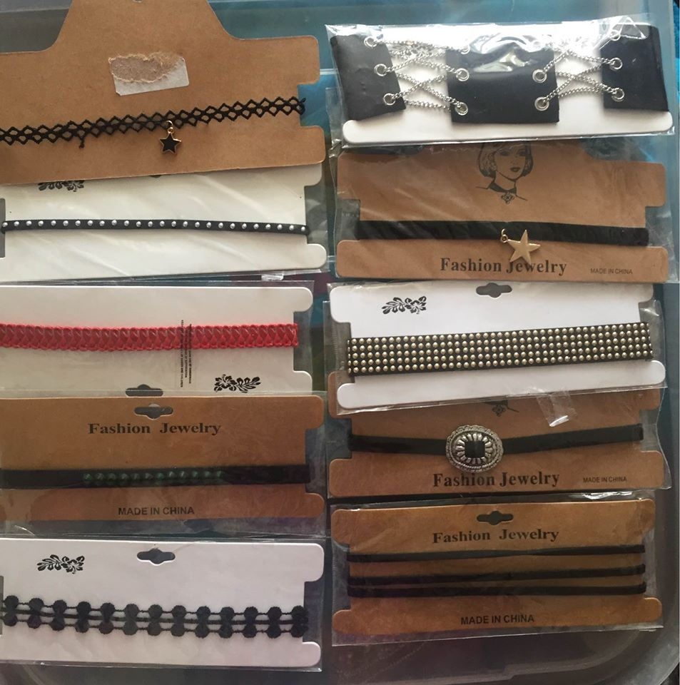 Lot of 10 gothic choker necklaces