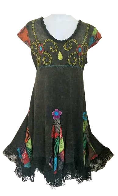 Lovely applique flower lacey hem dress xxl