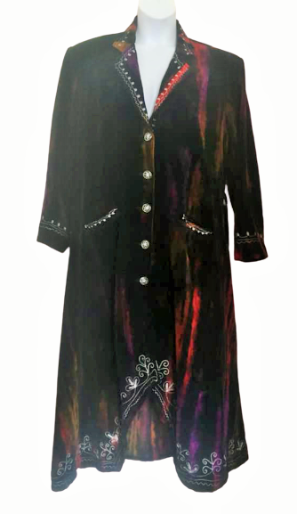 Gorgeous velvety tie dye steampunk /hippy jacket plus size /unisex