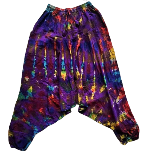 Funky tie dye harem trousers