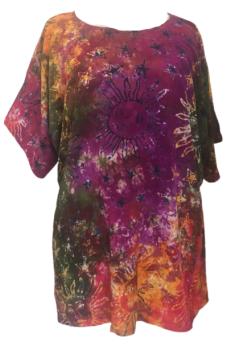 Sunny stars funky hippy batik plus size top