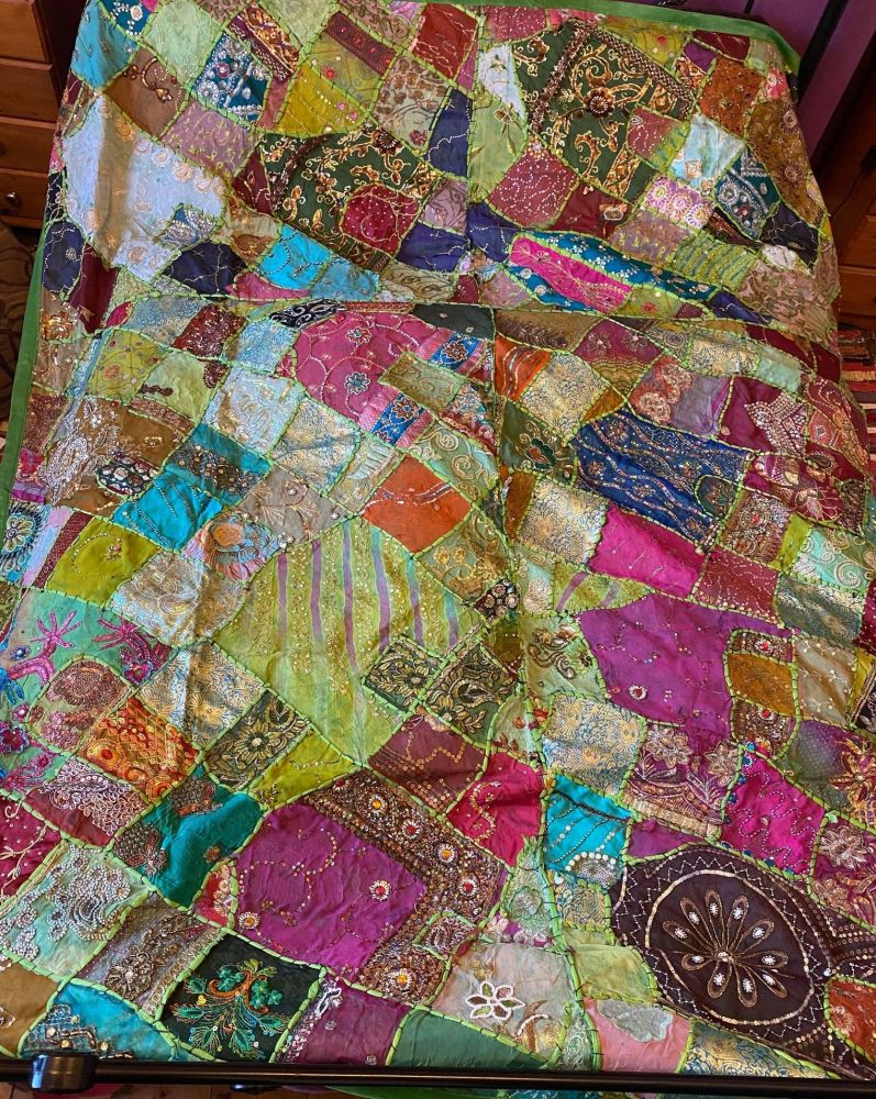 Fabulous massive hippy indian wall hanging ,or settee ,bed throw