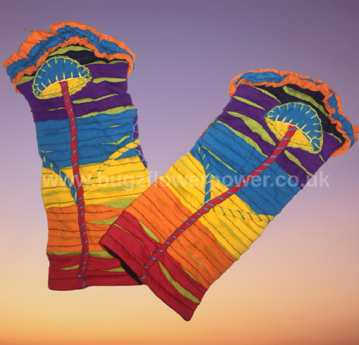 Funky rainbow fleece lined mushroom wrist warmers