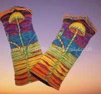 Funky rainbow fleece lined mushroom wrist warmers