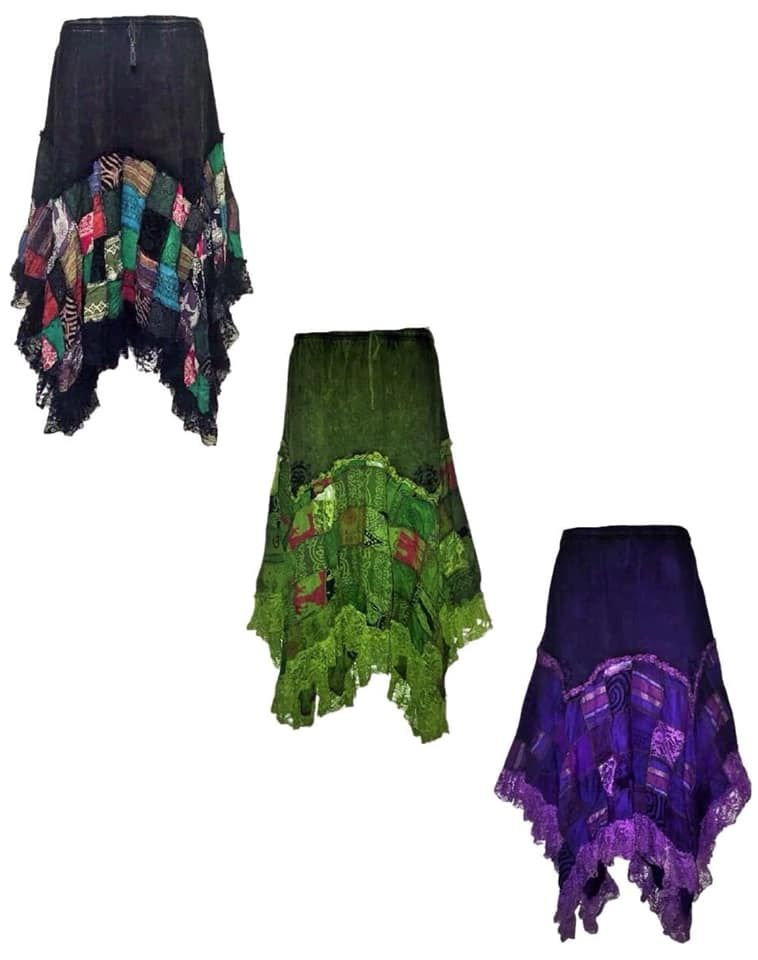 Beautiful whimsical patchwork vetvety lace hem skirt