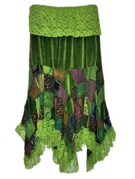 Beautiful whimsical boho  patchwork velvety lace hem skirt
