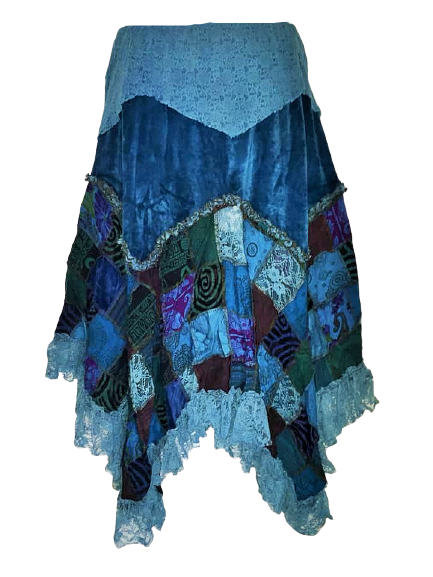 Beautiful whimsical patchwork vetvety lace hem skirt plus size]