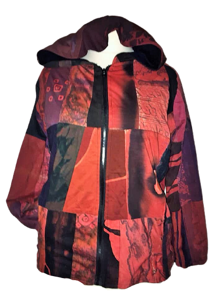 Hippy patchwork fleece lined jacket with large pixie hood