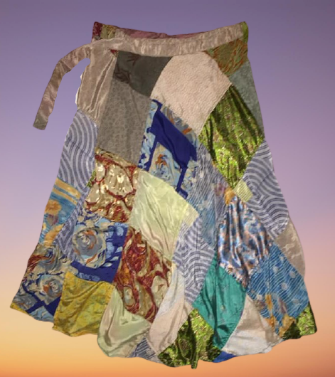 Gorgeous sari patches wrapover skirt