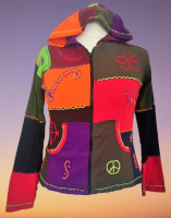 Funky patchwork hooded jacket