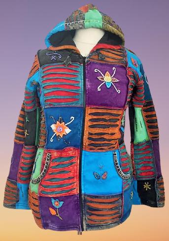 Hippie razor cut & applique patchwork hoody [fleece lined]