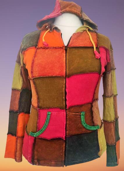 Over lock patchwork hooded jacket 12-14