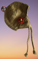 Snuggly fleece lined wool hat with felt flowers