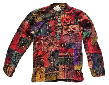 Unisex printed patchwork grandad shirt, 40 inches bust / chest [style D]