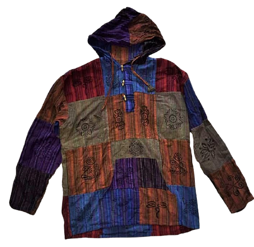 Unisex printed patchwork hooded shirt, 48 inches bust / chest