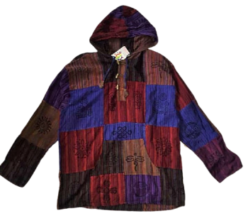 Unisex printed patchwork hooded shirt, 50 inches bust / chest