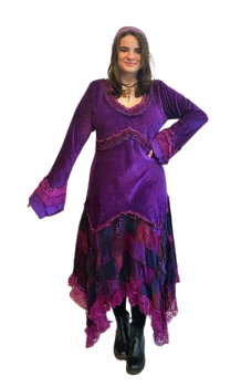 Rozanna velvety and lacey patchwork fae dress