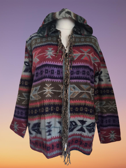 Simply gorgeous aztek hippy fringed jacket